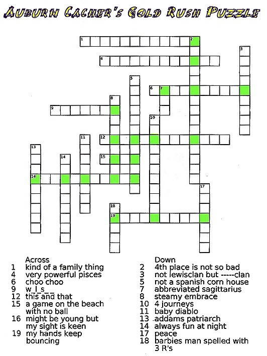 Gc2wnhy auburns cacher 39 s gold rush crossword puzzle for Japanese flower arranging crossword clue